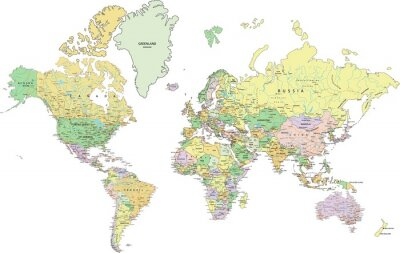 Bild Highly detailed political World map with labeling.
