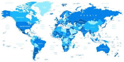 Bild Highly detailed vector illustration of world map.Borders, countries and cities.