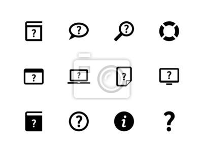 Hilfe und FAQ-Symbole auf weißem Hintergrund.