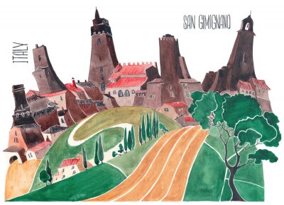 Bild Hills of Tuscany. Stylized nature and architecture of Italy. An illustration of a watercolor.