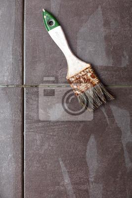 Hintergrund Bau Pinsel Fliesen zu Hause Fliesenboden Klebstoff