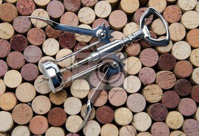 Bild Hintergrund der Weinkorken mit Korkenzieher