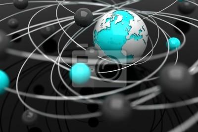 Hintergrund mit abstrakten Kugeln und der Erde