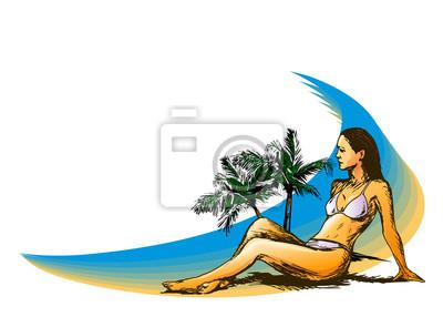 Hintergrund mit einer Frau am Strand. Vektor-Illustration