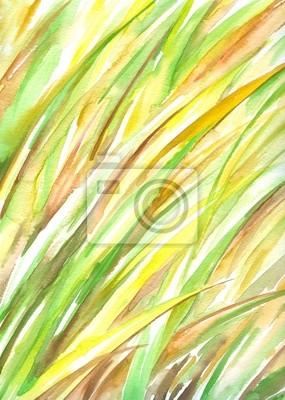 Hintergrund mit Gras Aquarell malte.
