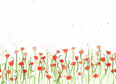 Bild Hintergrund mit Handzeichnung Aquarell rote Mohnblumen auf weiß. Nahtlose Banner mit Blumen. Hand Malerei Farbe Kopie Raum Grenze.