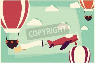 Bild Hintergrund mit Heißluftballons und Flugzeug mit Band, Vektorillustration