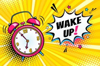 Bild Hintergrund mit komischen Wecker Klingeln und Ausdruck Sprechblase mit aufwachen Text. Vector helle dynamische Cartoon-Illustration in Retro-Pop-Art-Stil auf Halbton Hintergrund.
