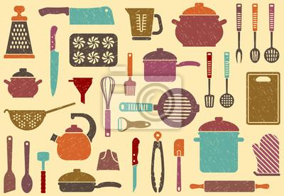 Hintergrund mit Küchengeschirr