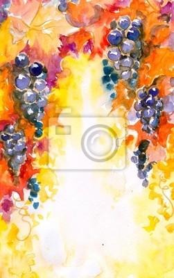 Hintergrund mit Trauben Aquarelle gemalt.
