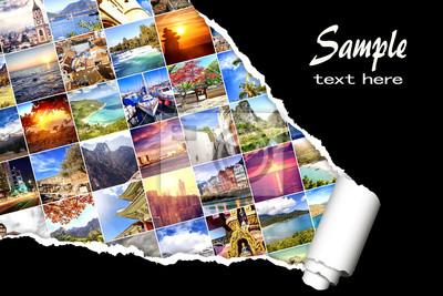 Bild Hintergrund mit vielen Fotos von Ferien und von Reise, Bestimmungsort auf der ganzen Erde, mit Effekt des zerrissenen Papiers. Design, Werbung, Konzept