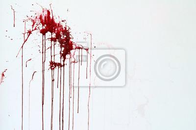 Bild Hintergrund Textur Zement weiße Wand mit roten Blut-like Lackstreifen
