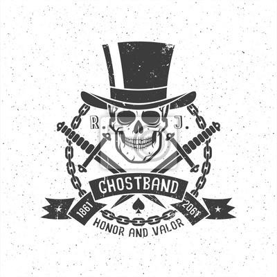 Hipster Retro Tattoo Logo Mit Schadel Im Zylinder Hut Mit Dolchen