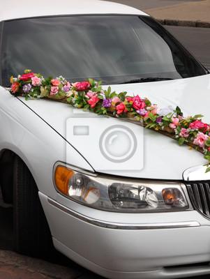 Hochzeit Auto Mit Blumen Geschmuckt Leinwandbilder Bilder Cabrio