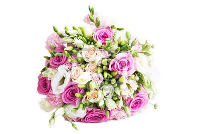 Hochzeit Blumenstrauss Mit Weissen Und Rosa Rosen Isoliert Auf