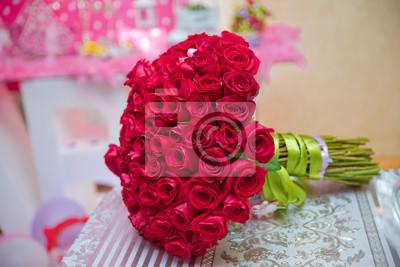 Hochzeit Blumenstrauss Rote Rosen Fur Das Leben Leinwandbilder
