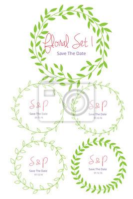 Hochzeit Grafik Set Blumen Design Elemente Rahmen Etiketten