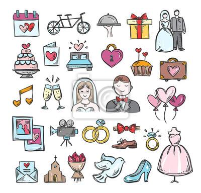Hochzeit Hand Skizze Symbole Cute Hand Gezeichneten Hochzeit