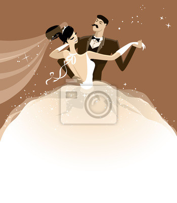 Hochzeit Illustration Von Einem Happy Dancing Couple Just Married