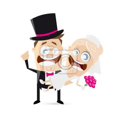 Hochzeit Lustig Cartoon Leinwandbilder Bilder Brautkleid Witzig