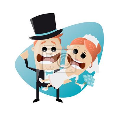 Hochzeit Lustig Cartoon Leinwandbilder Bilder Braut Und Brautigam