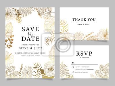 Hochzeitseinladungskarte Mit Blumenvorlagen Leinwandbilder Bilder