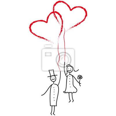 Hochzeitspaar Mit Luftballon Herzen Leinwandbilder Bilder