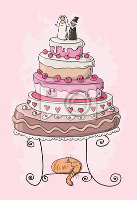 Hochzeitstorte Cartoon Leinwandbilder Bilder Hochzeitstorte