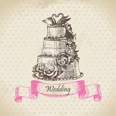 Hochzeitstorte. Hand gezeichnete Illustration