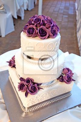 Hochzeitstorte Mit Blumen Und Banddekoration Leinwandbilder