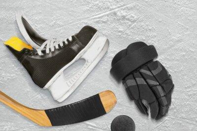 Bild Hockey Schlittschuhe, Stick, Handschuhe und Puck