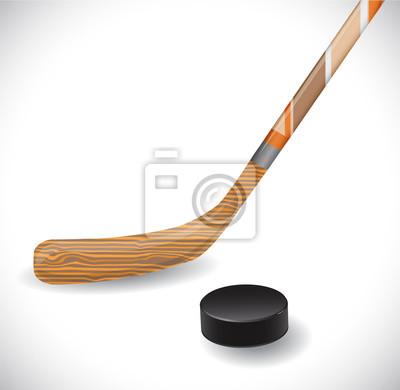 Hockey-Stick und Eishockey-Puck.