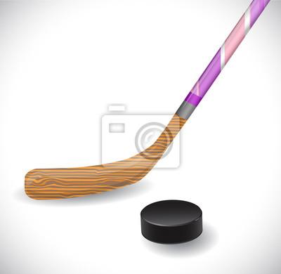 Hockey-Stick und Eishockey-Puck. Abbildung 10 Version.