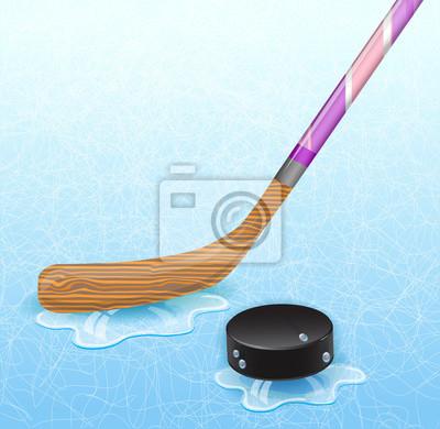 Hockey-Stick und Eishockey-Puck. Abbildung 10 Version