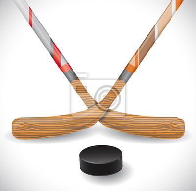 Hockeystöcke und Hockey-Puck. Abbildung 10 Version