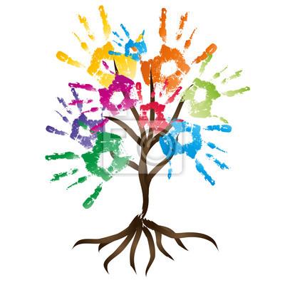 Hohe Auflosung Konzeptionelle Gemalt Baum Mit Bunten Blattern