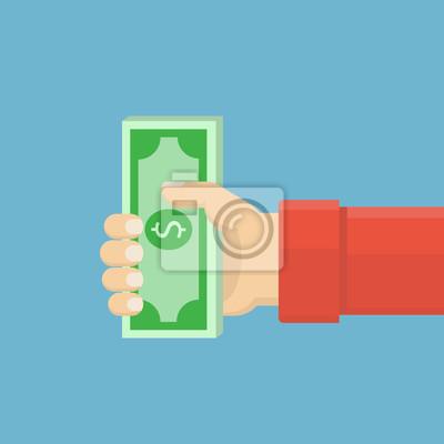 Holding bündel von dollar-banknoten. vorlage von dollar-banknoten ...