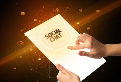 holding futuristic tablet, social media concept