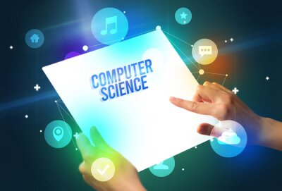 Holding futuristic tablet with COMPUTER SCIENCE inscription, new technology concept