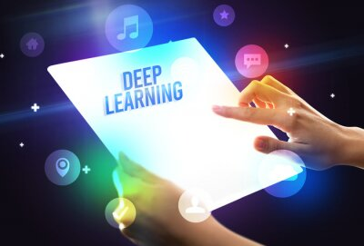 Holding futuristic tablet with DEEP LEARNING inscription, new technology concept