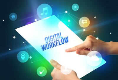 Holding futuristic tablet with DIGITAL WORKFLOW inscription, new technology concept