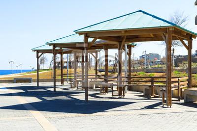 bild holz pavillon pergola spielplatz erholungsgebiet am meer offentlichen park
