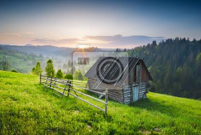Holzhaus auf grünem Hügel
