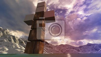 Holzkreuz im Wasser