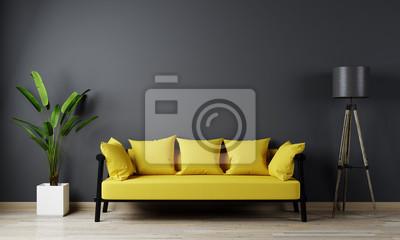 Bild Home interior, luxury modern dark living room interior, black empty wall mock up, yellow 3d render