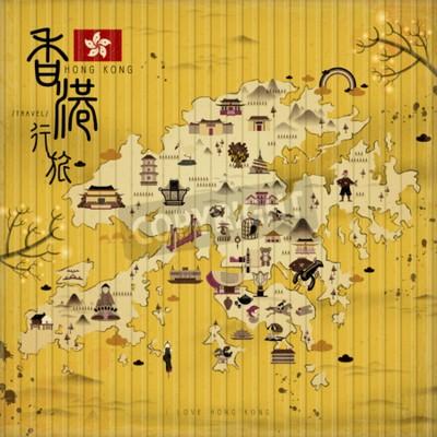 Bild Hong Kong Reisekarte mit Attraktionen im Retro-Stil - der obere linke Titel ist Hong Kong reisen in chinesischen Wort
