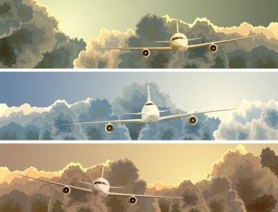 Bild Horizontal Banner der Ebene unter den Wolken.