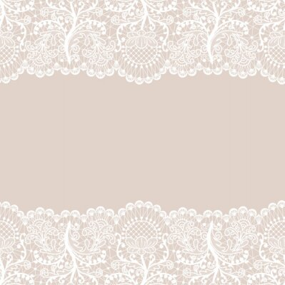 Bild Horizontally seamless beige lace background with white lace borders