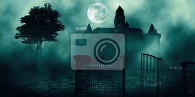 Bild Horror halloween frequentiertes Haus im gruseligen Nachtwald.