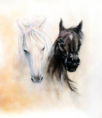 Bild Horse heads, two black and white horse spirits, beautiful detail